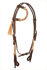 Western One Ear Natural Rawhide Braided Headstall with horse hair tassel