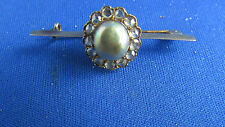 ancienne broche vintage or massif perle barrette 5 grammes