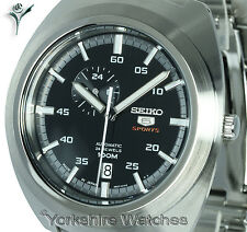 Men SEIKO 5 SPORTS RETRO BLACK FACE DATE AUTO STAINLESS STEEL BRACELET SSA281J1
