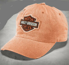 HARLEY DAVIDSON Mens B&S Frayed Logo Distressed Orange Cotton Baseball Cap  hat