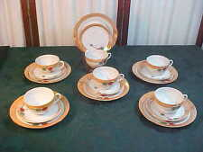 18pc Exquisite Mid-Century Peach Luster Leaf Design Cups/Saucers/Biscuit Plates