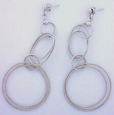 LARGE Round Oval Concetric Hoop Dangle Fashion Post Earrings .925 Pure Sterling