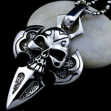 Unisex Silver Stainless Steel Cross Skull Charm Pendant Necklace Chain Jewelry