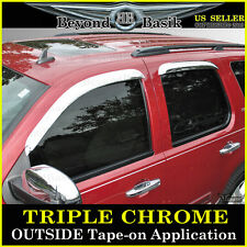 2007-2014 Chevy Tahoe GMC Yukon Chrome 4PC Door Vent Visors Rain Guards