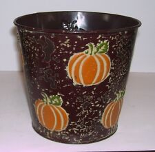 BROWN METAL PUMPKIN HALLOWEEN CANDY BUCKET DECORATION FALL AUTUMN
