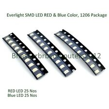 50 Pcs of EVERLIGHT SMD LED (BLUE & RED) 1206 Package, Direct Factory Import