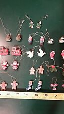 Christmas ornaments set of 26 miniature ceramic trees, ginger bread men, stockin