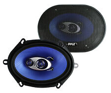 "Pyle PL573BL 5x7"" 300 Watts 3-Way Car Coaxial Speakers Stereo Blue, Pair"