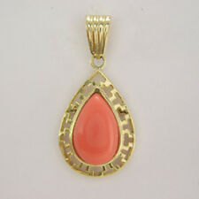 14K SOLID YELLOW GOLD PEAR-CUT CORAL PENDANT #P443