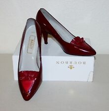 "VINTAGE BALLY ""RONA"" UK 7 EU 40.5 DARK RED LEATHER POINT COURT SHOES MADE IN UK"