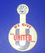 Vintage UNITED WAY Folding Button Pin