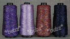 Quattro coni viscosa Glitter Uncinetto Cotone Filo Lavorato A Maglia Lurex Filo Blu Viola NEW