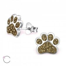 Sterling Silver 925 Dog / Cat Paw Sparkly Crystal Stud Earrings - Brown