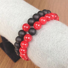 Couples Distance Bracelet YinYang Matte Agate & Red Quartz 8mm Bead His and Hers