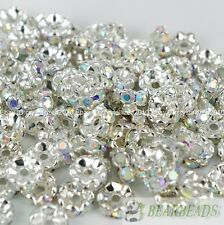 100Pcs Czech Crystal Rhinestone Silver Wavy Rondelle Spacer Beads 6mm 8mm 10mm