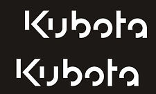 "2- KUBOTA TRACTOR Vinyl Decals Stickers -O- WHITE 2 "" X 9"" EACH"