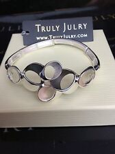 Contemporary Designer Statement Silver Bracelet Stretch One Size  - Free Postage