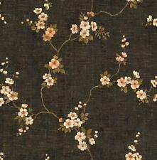 Wallpaper Designer Cream Pink Green Cherry Blossom Trail on Charcoal Brown Faux