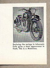1947 Magazine Photo Matchless Motorcycles with Telescopic Forks