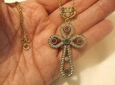 STERLING SILVER DECO EMERALD RUBY, & WHITE SAPPHIRE ROSE GOLD CROSS PENDENT