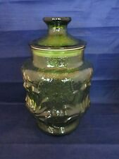 "Anchor Hocking Rainflower Green Glass Kitchen 9 1/2"" Canister Cookie Jar"