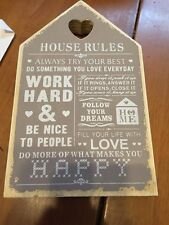 House Rules Shabby Chic Wooden Plaque Home Gift