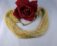 Gorgeous Multi Strand Golden Glass Beaded  Necklace FERAL   CAT RESCUE