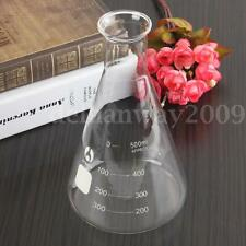 500ml Erlenmeyer Flask Groud Glass Conical Lab Supplies Glassware Tool Triangle