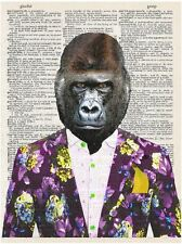 Art N Words Monkey Buisness In A Suit Original Dictionary Page Pop Art Print