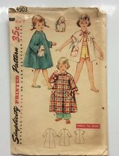 4503 Simplicity Vintage 1953 Child's Robe 3 Lengths Sz 2 Unused Transfer Include