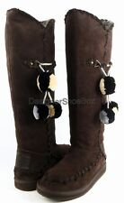 JUICY COUTURE MARSHA Chocolate Waxy Suede Pompom Designer Tall Winter Boots 7