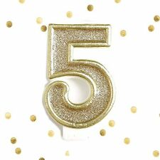 Light Gold Glitter Birthday Candle Number 5 Gold & White Cake Topper Five