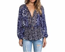 127337 New Free People Floral Patches Printed Shirt Tunic Top Large L 10
