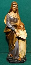 "ST ANNE & VIRGIN MARY Vtg CHALKWARE 8.5"" FIGURE STATUE"