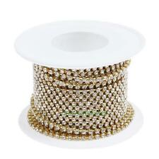 10yards/roll Clear Crystal SS6 Gold Base Rhinestone Close Chain Cup Trims Sewing