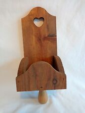 "SCONCE CANDLE HOLDER 14"" Wood Box Heart Handle Candlestick Wall Mount Vintage"