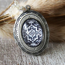 Gothic Pattern Oxidized Silver Oval Picture Locket Charm Pendant Necklace
