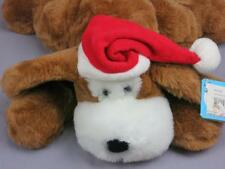 BIG NEW LAYING DOWN BROWN MY PUPPY DOG SANTA CLAUS HAT HOLIDAY PLUSH STUFFED