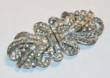 VINTAGE ART DECO SIGNED ENGEL RHODIUM RHINESTONES BROOCH 2 FUR DRESS CLIPS PIN