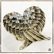 Bague Style Vintage  2 Ailes D'ange en Forme de Coeur Strass Couleurs Crystal