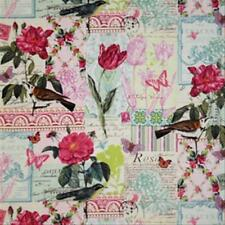Michael Miller French Journal Belle Rose Bird Botanical Collage Fabric in Pink
