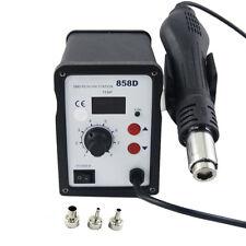 SMD Rework Soldering Station  Solder Iron Welder Hot Air Gun ESD 3 Nozzles 858