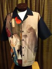 XL JAPANESE SAMURAI WARRIOR Short Sleeve Polyester Button Front Shirt