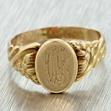 1890s Antique Victorian Ladies 10k Solid Yellow Gold Signet Ring