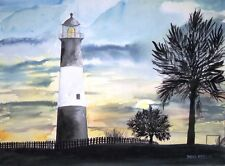 Tybee Island GA lighthouse watercolor painting art print signed lighthouses