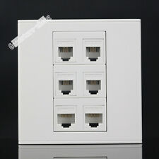 Wall Socket  Plate 6 Ports 4 Port RJ11 Telephone & Cat5 Cat5e Panel Faceplate