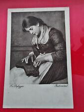 PRE WAR F. v. DEIREGGER ZEITVERTREIB WIEN  OLD POSTCARD GIRL PLAYING MANDOLINE