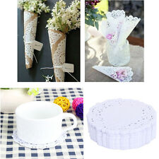 "180PCS 3.5"" Round Hollow Doilies Lace Paper Pad Cupcake Cakes Biscuits Placemat"