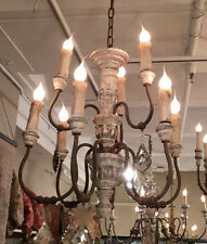 PROVENCE FRENCH ANTIQUE REPRODUCTION CARVED WOOD IRON CRYSTAL ENTRY CHANDELIER