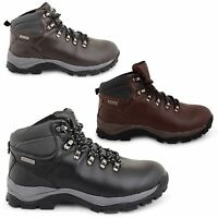 MENS GENTS NEW LEATHER WALKING HIKING TRAIL WORK TRAINERS ANKLE BOOTS SHOES SIZE